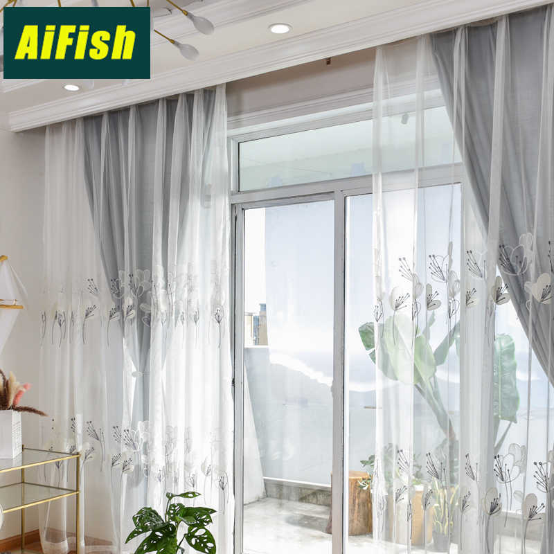 European Pastoral flower Tulle Embroidery Curtain for Living Room solid grey curtain for Bedroom home decor window drape WP059&4