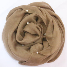 2017 Plain pearls hijabs for women viscose solid shawl Nice beads scarf muslim head wrap elegant scarves Fast Shipping