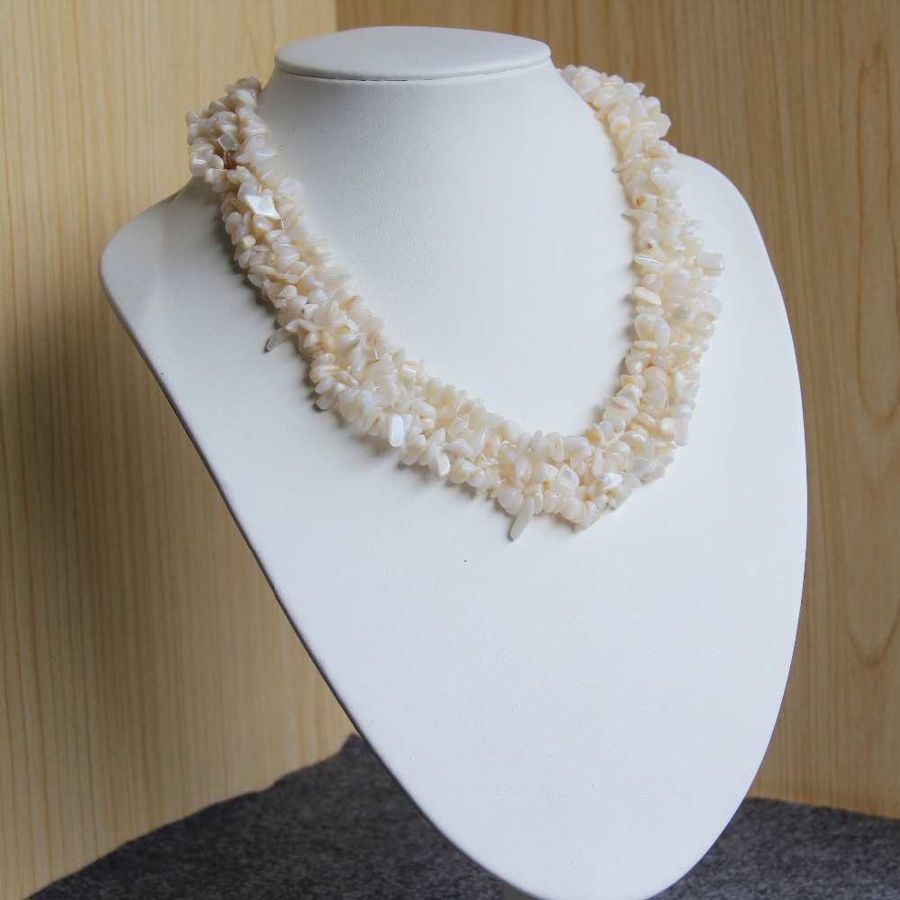 2017 New Necklace 6-8mm Natural Irregular Accessories Ocean Sea Shell sea Shell necklace Women Girl 15inch Jewelry Making Design(China (Mainland))