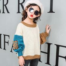 2-13 Yrs Child 2017 Casual Fall Spring Long Sleeve Girls Sweater Tops Shirts Kids Pullover Sweaters Baby Teenage Clothes JW2837(China)