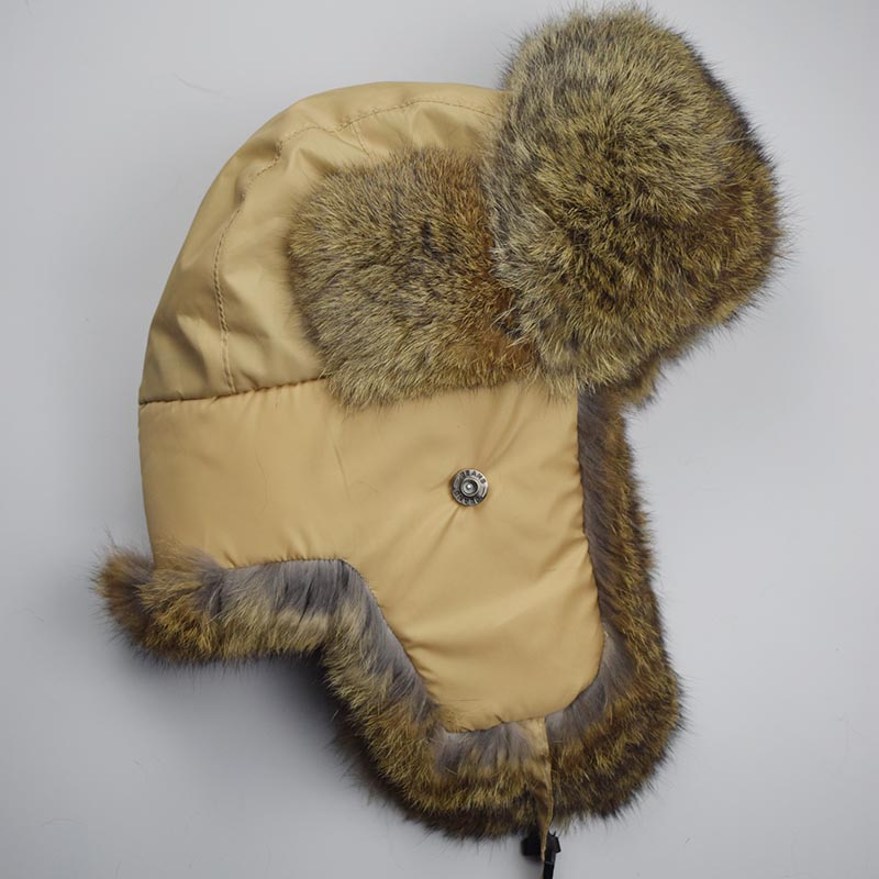 rabbit fur hat beige