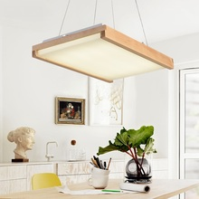 Nordic Japan led solid wood square pendant lamps woody bedroom restaurant lights creative home atmosphere Pendant Lights(China)