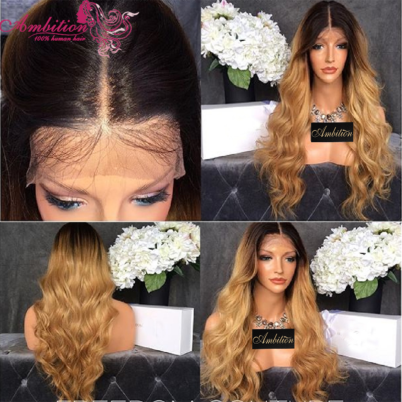 Omber T27 Two Toned Middle Part 150% Full Density Virgin Brazilian Human Hair wigs Glueless Front Full Lace Wig Free Shipping<br><br>Aliexpress