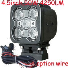 "Free DHL/UPS Ship,4.5"" 50W 4250LM 10~30V,6500K,LED working light;Free ship!Optional wire;motorcycle light,forklift,tractor light"