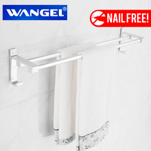 WANGEL  Toilet  Nail Free  Towel Rack Bathroom Space Aluminum  Double Towel Bar Powerful Suction Hardware Accessories WG-98302