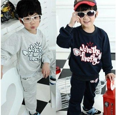 Hurave Hot selling!! Cute engel design boy coat + pants 2 pieces Casual Suits Set For Boy Clothes<br>