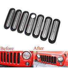 7pcs Black ABS Car-styling detector Front Grille Mesh Grills With Lock Hole covers trim For Jeep Wrangler JK 2007-2015 accessory