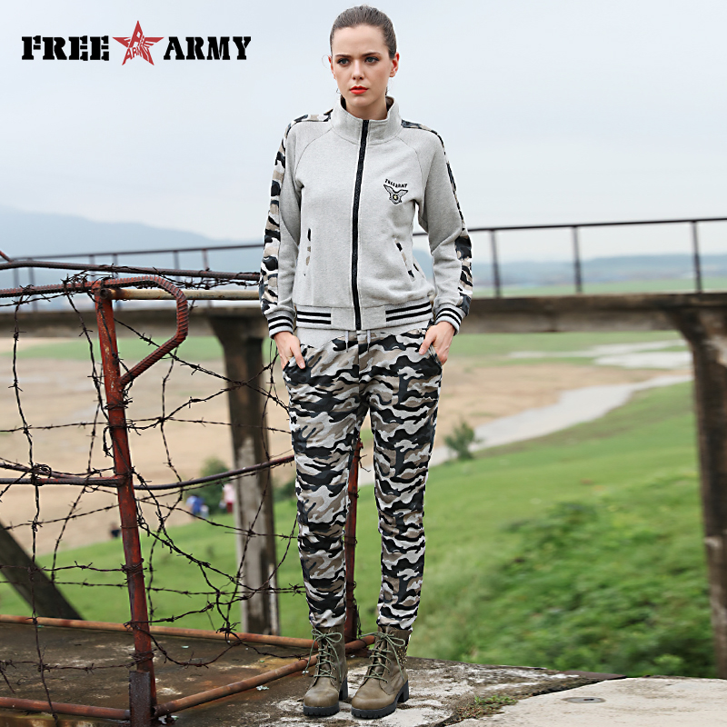 Camouflage Grey Tracksuit Casual Womens Sets Pants Jackets Two Pieces 2016 Hoodies Set Autumn Sweat Suits Women Outfits