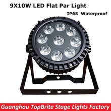 Free Shipping High Quality NEW IP65 Waterproof LED Par Light 9X10W RGBW 4IN1 LED Flat Par Cans For Professional Stage Dj Lights