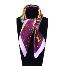 Imitated Silk Geometric Oil Painting Hand Paint Printed 60cm*60cm Lady Square Scarf Woman Headband Hijab