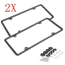 Silver/Black Stainless Steel License Plate Frame Tag Cover Screw Caps for US Car
