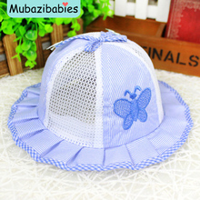 Striped Butterfly Baby Bucket Hat Princess Ruffles Breathable Baby Summer Hat Cap SummerHats for 0-1 Years kids