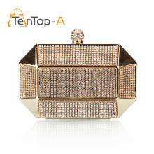 TenTop-A Luxury Party Clutch Bag Iron Box Full Diamond Evening Bag Clutch Solid Purse Diamond Wedding Handbags Black Silver Gold(China)