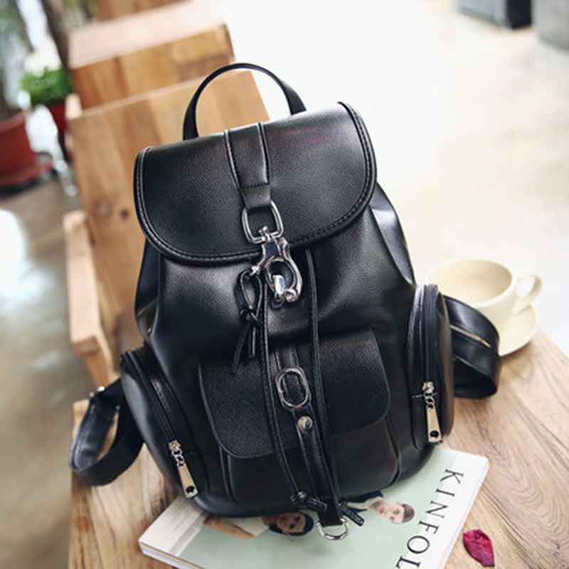 Multifunction Designer Backpacks Women Preppy Book bags Young Girls big Washed Leather Backpack Lady Large Capacity bags Black<br><br>Aliexpress