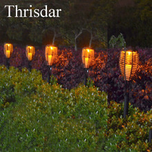 Thrisdar 2pcs Solar Garden Rattan Torches Lights Outdoor Landscape Garden Patio Deck Yard Path Tiki Torches Lantern Light(China)