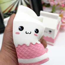 Besegad Cute Kawaii Soft Squishy Charms Milk Bag Toy Slow Rising for Children Adults Relieves Stress Anxiety Cabinet Decor