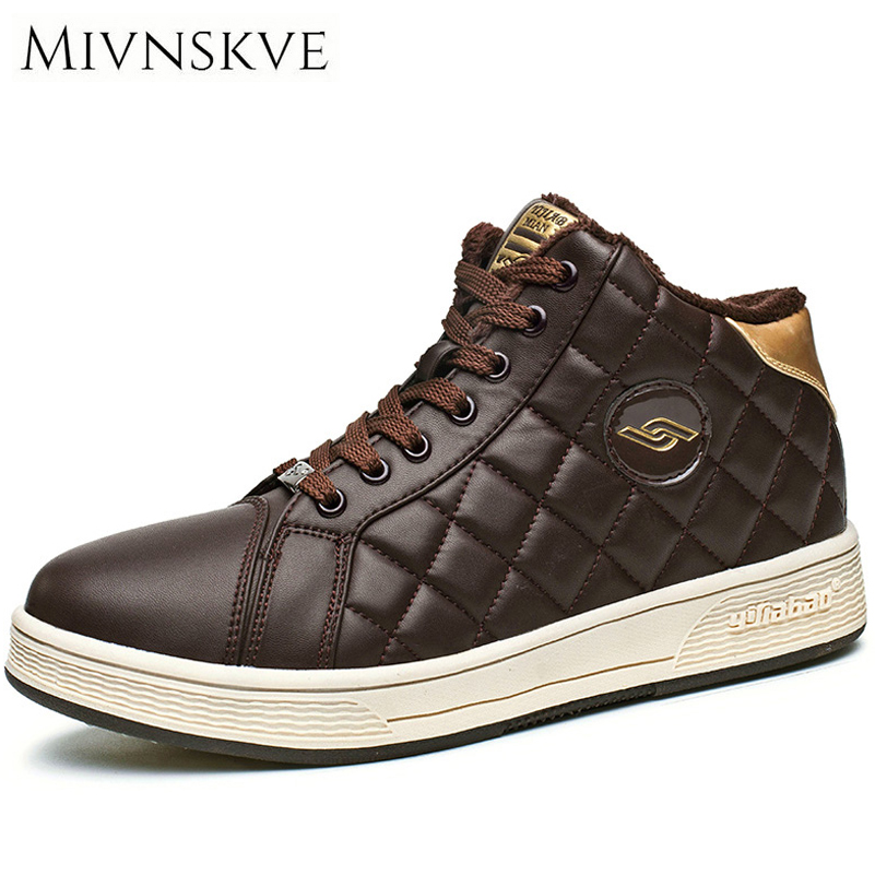 MIVNSKVE 2017 Winter High Top Men Leather Shoes Flat With Fur Warm Mens Casual Shoes Comfort Mens Sneakers Male Footwear 40-45<br>
