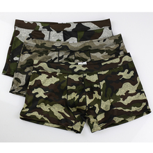 Fashion 2017 Camouflage Man Sexy Penis Pouch Long Boxers Shorts Panties/Gay Seamless Spandex Trunks Underwear(China)