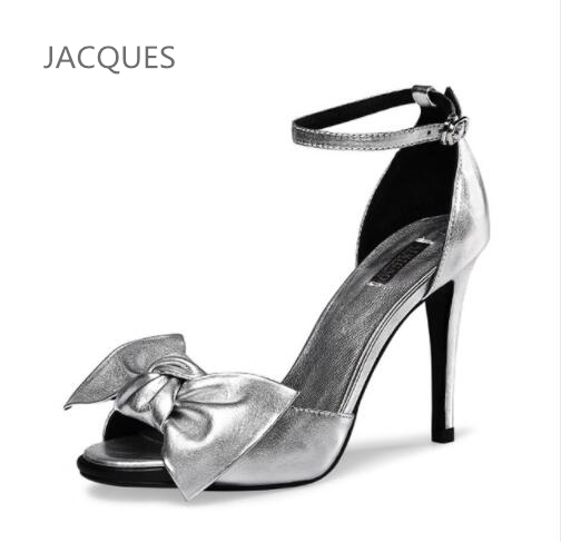 2017 Sexy Women Fashion Pumps  Bow sandals Open Toe Ankle Strap Stiletto Sandal Party High Heels Shoes Woman size 31 32 33  40<br>