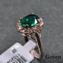 New Brand Green Crystal Big Rings For Women Gold Color Ring Fashion Jewelry Nickel top quality Finger Ring Free shipping