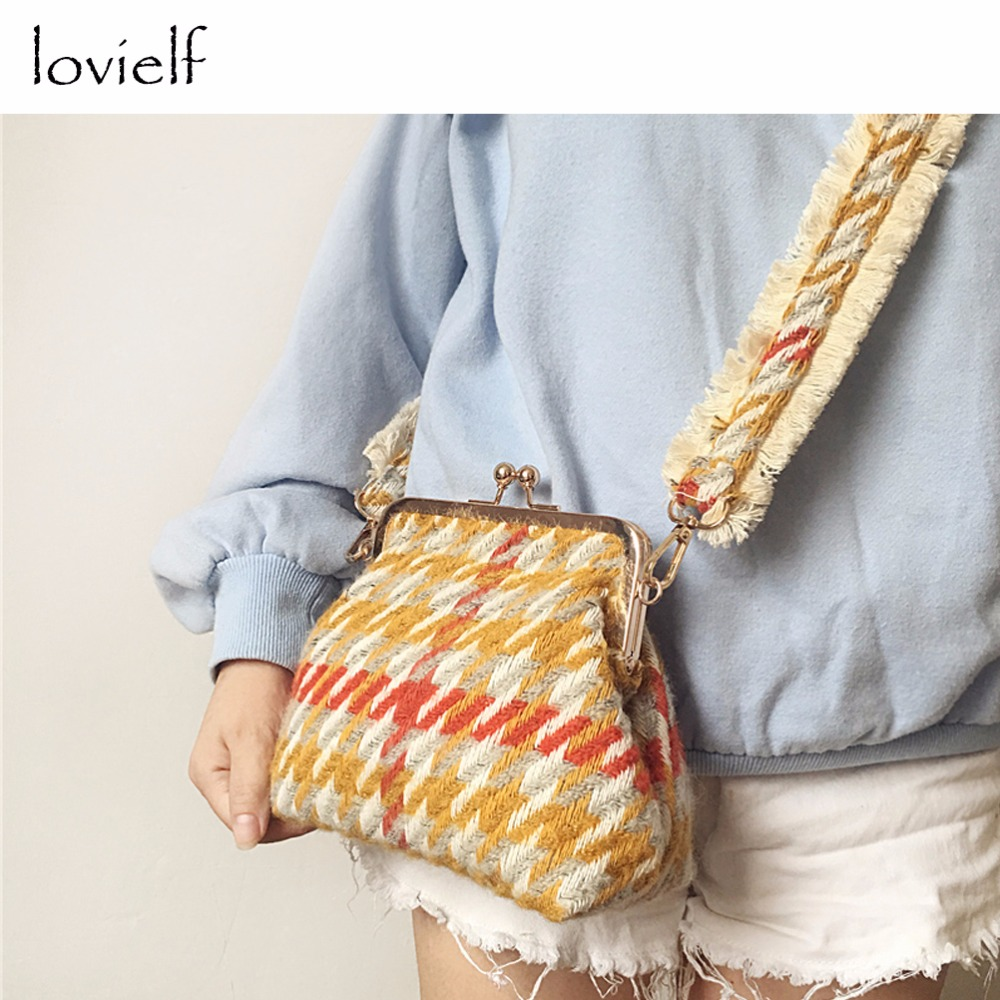 lovielf NEW Women Girl Lady Winter Style Vintage Fashion wide strap Houndstooth Woolen Hasp Shoulder Bags Handbags<br>