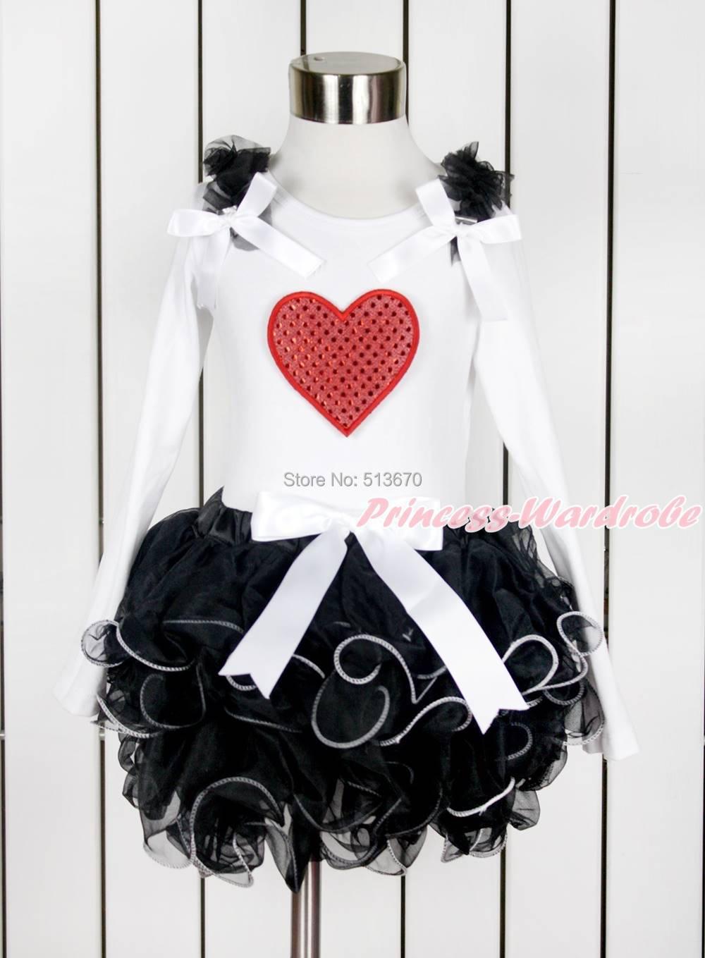 Valentine Baby Girl Hot Red Sparkle Heart White Top Black Petal Pettiskirt NB-8Y MAPSA0137<br><br>Aliexpress