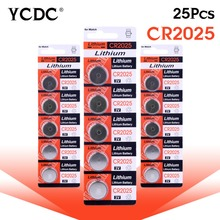 Hot selling 25Pcs cr2025 3v lithium battery Lithium Coin Cells Button Battery CR2025 BR2025 DL2025 KCR2025 2025 L12 EE6279