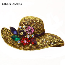 2 colors big hat rhinestone brooch vintage flower pins and brooches antique  fashion jewelry scarf buckle jewelry