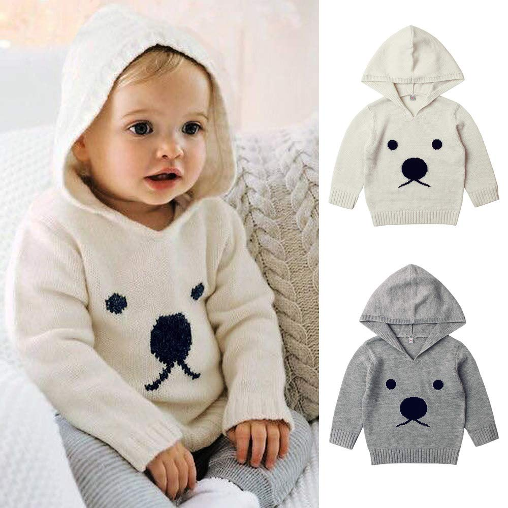 Knitted Sweater for Newborn Baby Boys Girls Clothes Infant Cartoon Bear Outerwear Toddler Hooded Sweater for Baby 6M 12M 2T 3T
