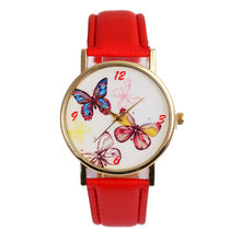 Women Watch Cute Butterfly Dial Quartz Watches PU Leather Wrist Band Casual Wristwatch Clock Gifts For Lady Gift  LL@17