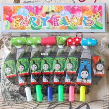 6PCS 13*8CM Cartoon thomas Train theme blow out for kids birthday party decoration(China)