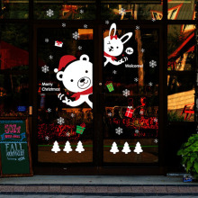 NEW Lovely Cute Bear Rabbit Pattern DIY Christmas Wall Stickers Shopping Mall Glass Display Window Decorative Wall Decal Sticker