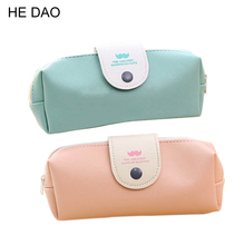 Hot Sales New Cute Kawaii Pure Color Leather Pencil Case School Pencil Bag For Girls Korean Stationery Free Shipping 0803(China)
