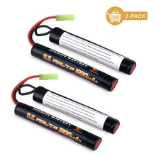 Melasta 2 Pack 2/3A 9.6v 1600mAh Butterfly NunChuck NIMH Battery Pack with Mini Tamiya Connector for Airsoft Gun and mini RC car
