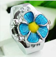luxury fashion petals rhinestone rings women 's gem Jewelry ring watches Finger watch 10 pcs/lot