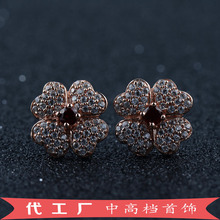 The new flower earrings natural red  inlaid 925 sterling silver jewelry manufacturers selling in Panyu