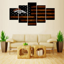 5 Panels Original Print  Canvas Print Wall Art Picture Home Decor  Old American Nation Flag with Wild Horse LOGO Sign 007