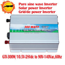 Amazing!!! Free shipping! Solar micro inverter grid tie 300W Grid-on Inverter DC10.5~28V to AC110V,60HZ Pure sine wave Converter