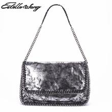 New Women Pvc Leather Simple White Black Shoulder Bag With Cover Stella Totes Ladies Chain Big Handbags 2016