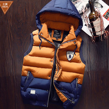 2016 New Autumn Vest Winter Men's Down Vests Coat Fashion Casual Outerwear Male Stand Collar Slim Sleeveless Jacket Waistcoat
