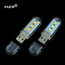 SXZM 10PCS mini led light 5730 USB portable LED Lamp Camping 3leds 59mm for Computer,desktop Small Night Light