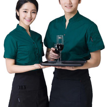 Hot Sale Restaurant Waitress Waiter Uniforms Cook Clothing Short Sleeve Workwear Men Women Coat & Apron