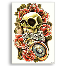 Water Transfer Fake tattoo Disposable Waterproof Temporary Color Stickers Flower Skull Watch Women Men sexy Body Art Cool Stuff(China)