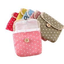 Sweet&fresh Point Design Cotton Cloth Menstrual Pads Menstrual Cotton Sanitary Towel Napkin Pad Purse Holder Easy Bag Organizer(China)