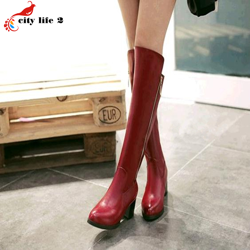 Large Size Small Size 34-42-47 Waterproof High Boots Knee-High Zipper Middle-Heeled 2017 New Short Plush Winter Black Red White<br><br>Aliexpress