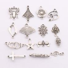 16pcs Antique Silver Butterfly Letter Star Daisy Flower Cross Charms Pendants Earrings Connectors For Jewelry Craft DIY LM10(China)