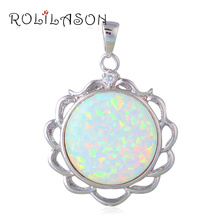 Promotion Glam Luxe Mysterious Necklaces jewellery Round White Fire Opal Sterling Silver Pendants Australia OP598(China)
