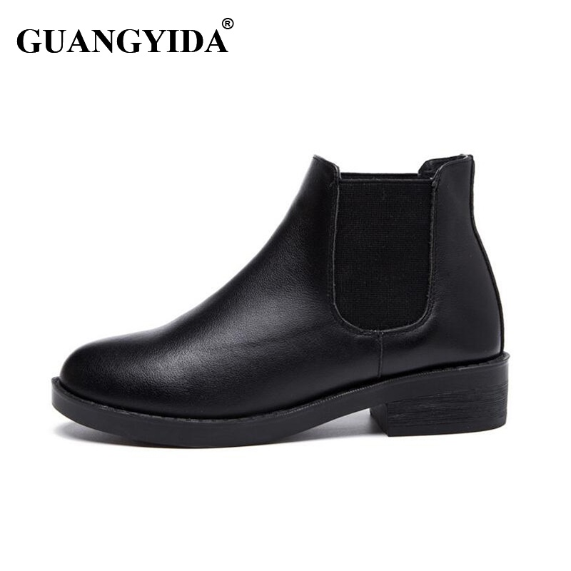 2017 Winter Chelsea Genuine Leather Women Boots Matte Platform Flat Womens Boot Shoes Black Full-grain Leather Ankle Boot 289<br><br>Aliexpress