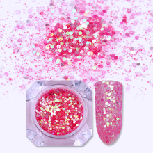 Holographic Hexagonal Heart Sequins Nail Glitter Powder Dust Gold Silver Nail Art Paillette Tips UV Gel Polish DIY Decoration