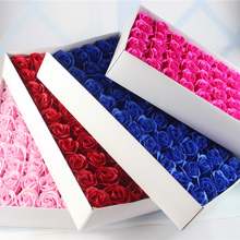 New Year Soap Flower 6cm Artificial Roses High Grade 50PCS Box-packed Romantic Valentine's Day Gift Wedding Flowers Free ship(China)